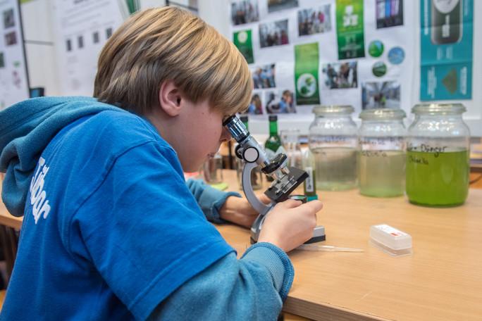 Jason Greilich untersucht Algen unter dem Mikroskop