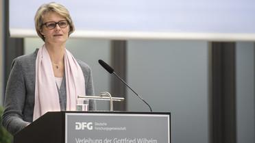 Bundesforschungsministerin Anja Karliczek während ihrer Rede im Rahmen der Verleihung der Leibniz-Preise 2018