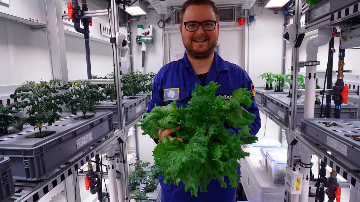Paul Zabel mit dem ersten geernteten Antarktis-Salat