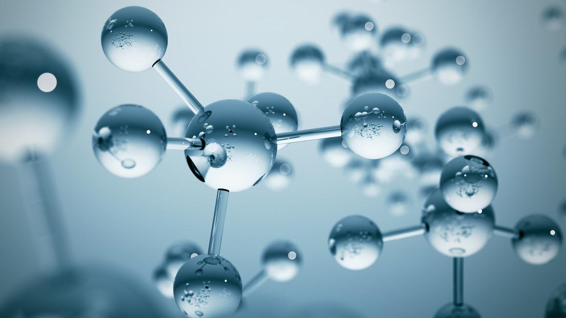 Blue molecule structure 3D illustration
