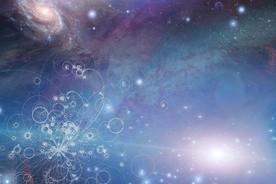 Physik aus winzigen Partikeln, die sich im Weltraum ausdehnen