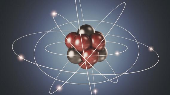 Atom. Elementarteilchen. 3D Hintergrund der Kernphysik