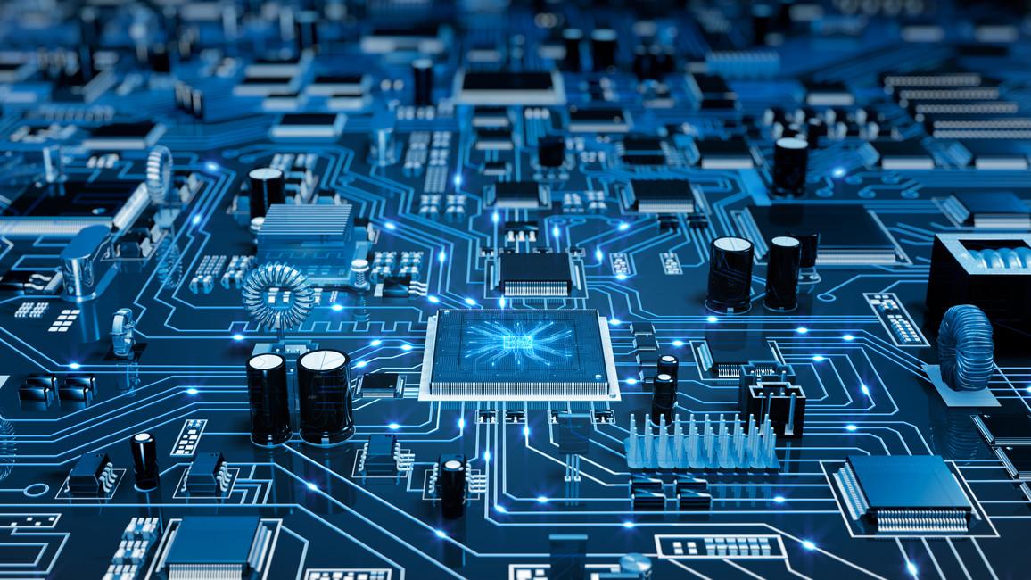 Futuristische Platine mit blauen Elektronen