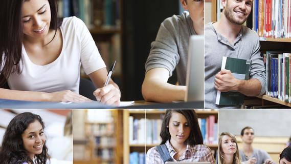 Bildmontage, die verschiedene Studenten zeigt