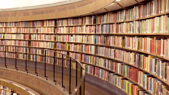 Blick auf ein Bücherregal in einer Bibliothek.