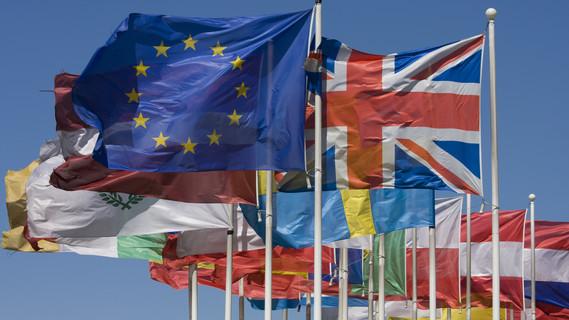 Flaggen vieler europäischer Länder
