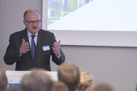 Michael Meister, Parlamentarischer Staatssekretär bei der Bundesministerin für Bildung und Forschung, während seiner Rede bei der Auftaktveranstaltung GO:UP der Universität Potsdam