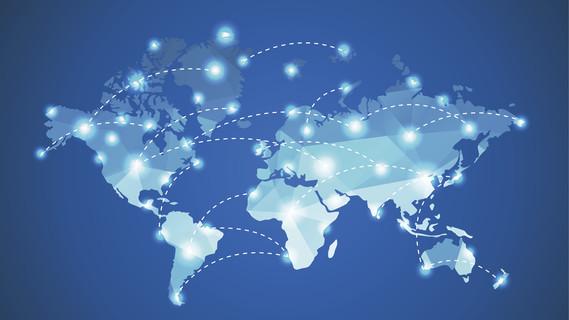 Eine Weltkarte auf der die Kontinente durch Linien miteinander verbunden sind