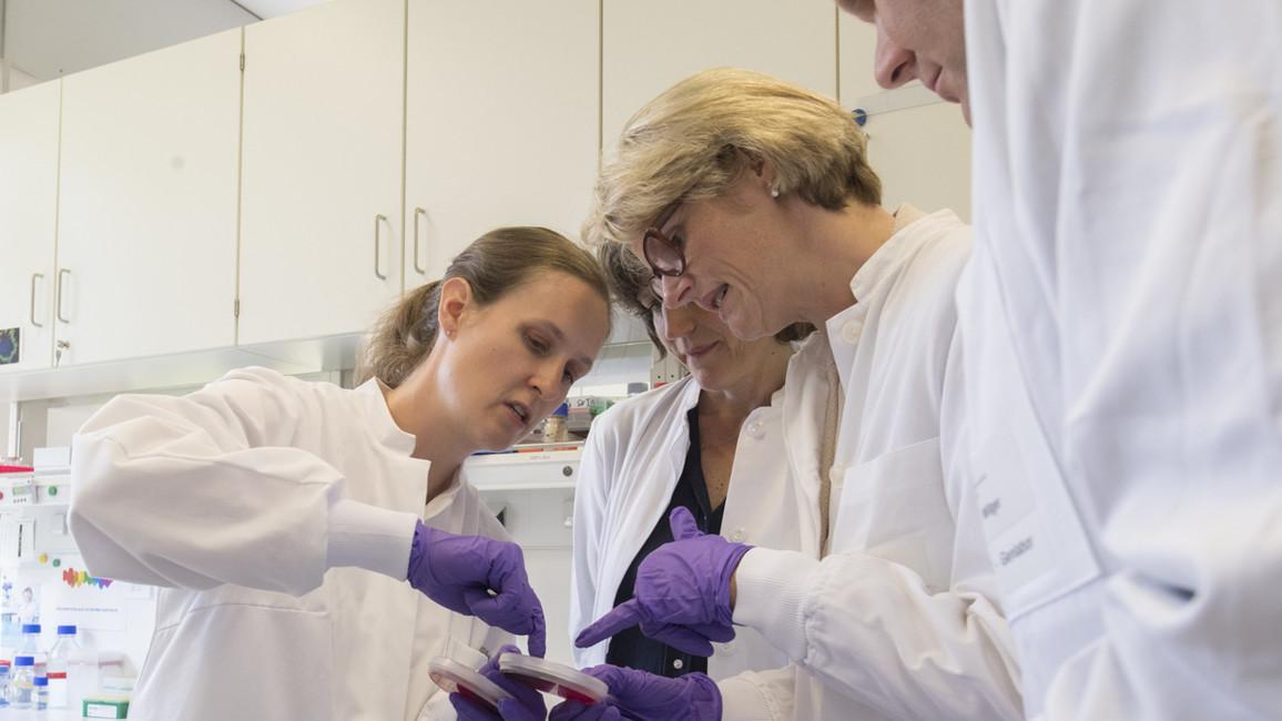 Zum Abschluss ihres Besuchs in Hannover informierte sich Bundesforschungsministerin Anja Karliczek im Zentrum für Experimentelle und Klinische Infektionsforschung GmbH.