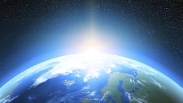 Die Erde mit Sicht aus dem Weltraum (beschnittene Version)