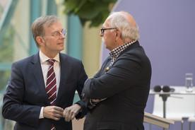 Thomas Rachel, Parlamentarischer Staatssekretär bei der Bundesministerin für Bildung und Forschung, im Gespräch mit Matthias Kleiner, Präsident der Leibniz-Gemeinschaft