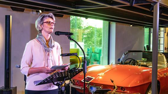 Bundesministerin Anja Karliczek während ihrer Rede im Rahmen des Sommerfestes der Wissenschaft am Vorabend des Nobelpreisträgertreffens in Lindau am Bodensee