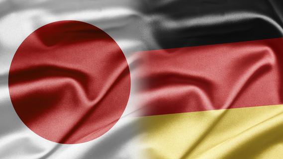 Flagge Deutschland und Japan