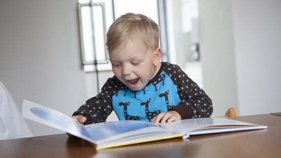 Ein Junge liest in einem Buch