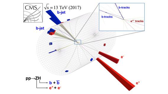 Darstellung einer Proton-Proton-Kollision im CMS-Experiment: Aus den dargestellten Signalen konnten die Wissenschaftlerinnen und Wissenschaftler Rückschlüsse auf das Higgs-Teilchen ziehen. Die Zerfallsprodukte des Higgs-Teilchens werden als b-jet, beziehungsweise in der Vergrößerung als b-tracks, bezeichnet.