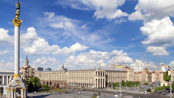 Blick auf den Majdan, dem zentralen Platz in der ukrainischen Hauptstadt Kiev