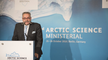 Johannes Vogel, Direktor des Naturkundemuseums, begrüßte die Gäste der Arktiswissenschaftsministerkonferenz.