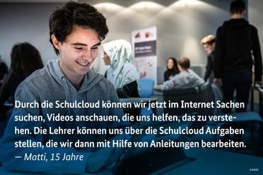 Am&nbsp;Nürnberger Dürer Gymnasium ist die Schul-Cloud bereits im Einsatz: Auf dem Digitalgipfel 2018 erzählen Lehrerin Anna Wagner und ihre Schülerinnen und Schüler, wie diese das Lehren und Lernen erleichtert.&nbsp;<br />&nbsp;