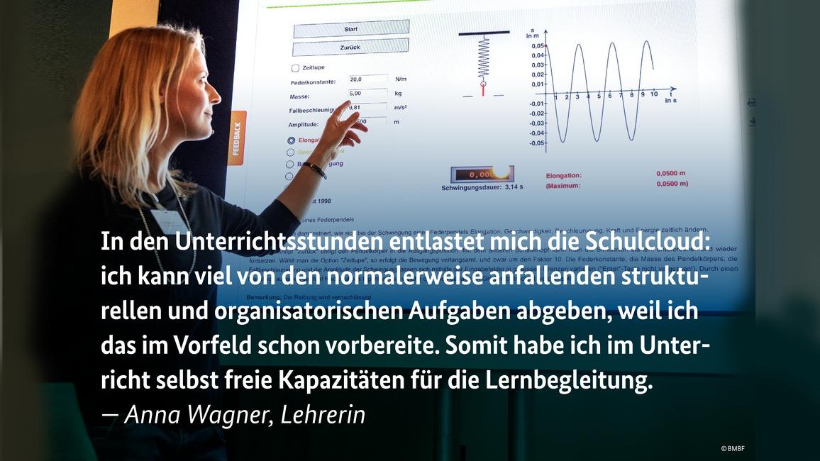 Am Nürnberger Dürer Gymnasium ist die Schul-Cloud bereits im Einsatz: Auf dem Digitalgipfel 2018 erzählen Lehrerin Anna Wagner und ihre Schülerinnen und Schüler, wie diese das Lehren und Lernen erleichtert.