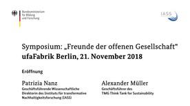 "Poster zum Video Symposium ""Freunde der offenen Gesellschaft"": Begrüßung"