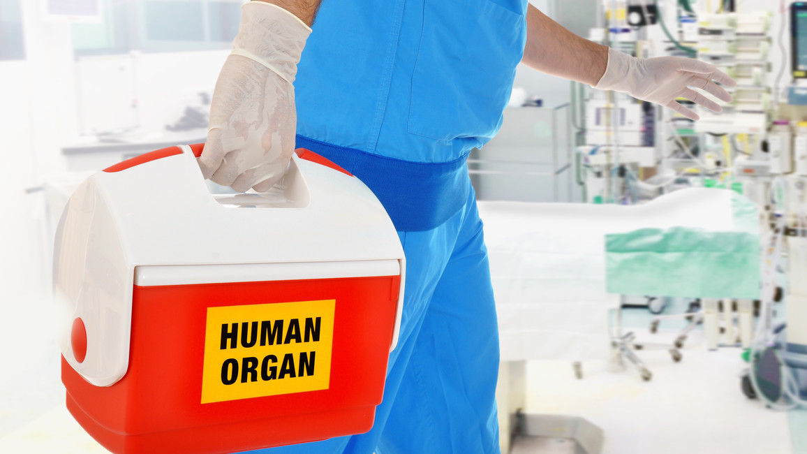Arzt/Pfleger trägt Koffer mit Organspende