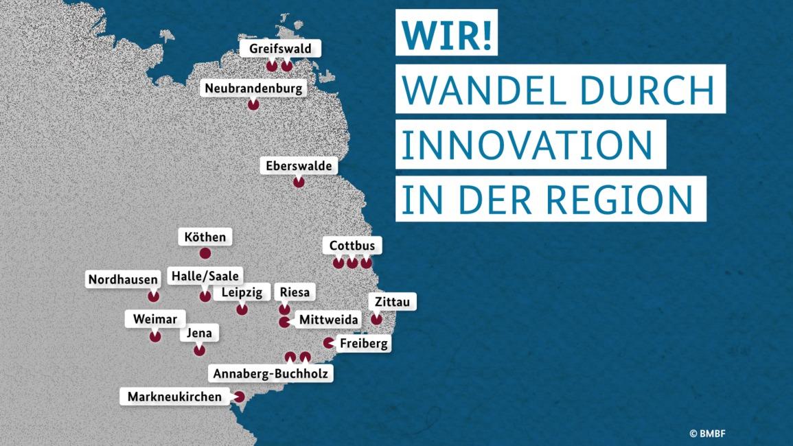 Karte der teilnehmenden WIR!-Einrichtungen.