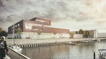 Erster Entwurf des AWI-Technikums: Anmutung von der Drehbrücke zum Weser Yacht Club aus gesehen.