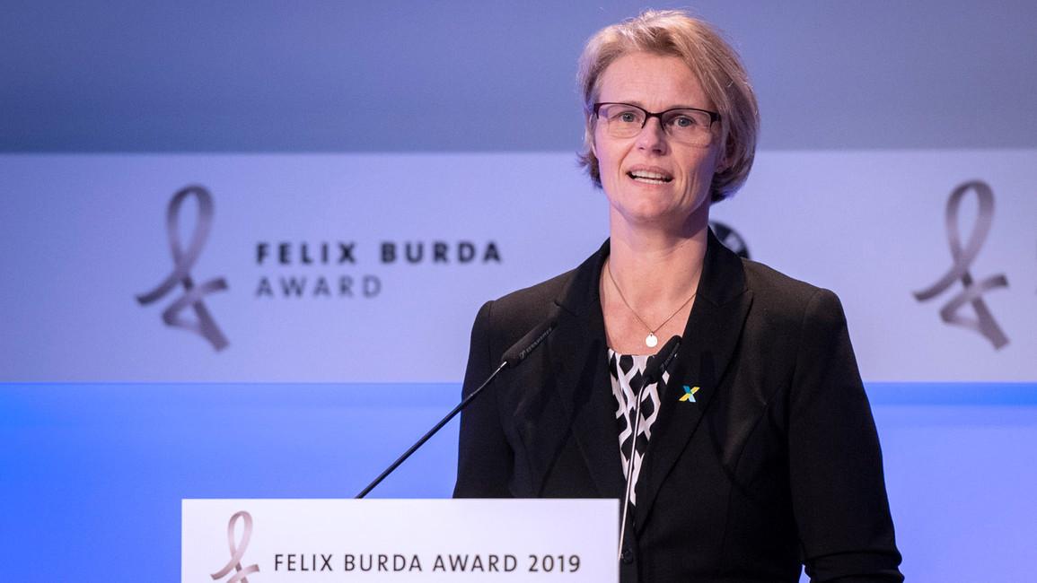 Bundesministerin Anja Karliczek während ihrer Rede im Rahmen der Verleihung des Felix Burda Award 2019.
