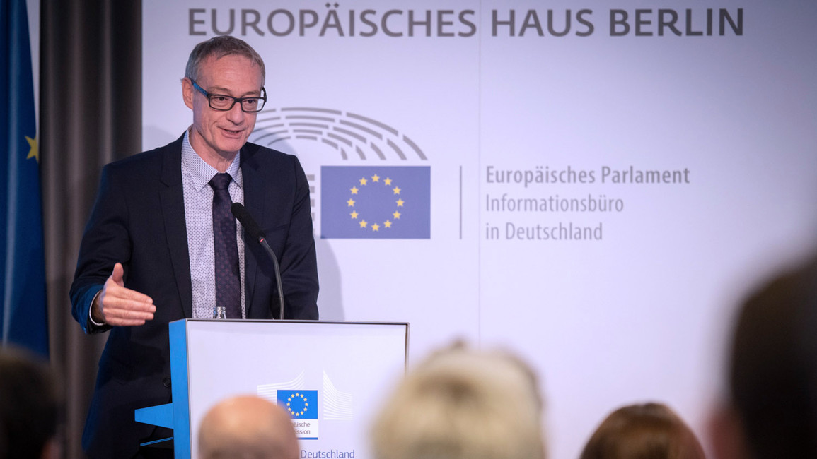 Christian Luft, Staatssekretär im Bundesministerium für Bildung und Forschung, hält im Rahmen der Vorstellung des Europäischen Innovationsrates (EIC) eine Rede.