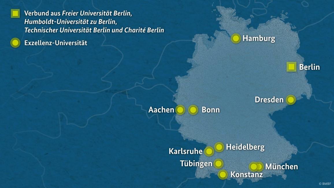 Karte Exzellenz-Universitäten
