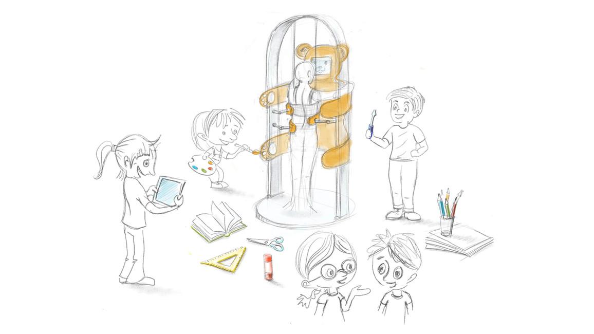 Ein Bär mit Monitor: So könnte das neue Gerät einmal aussehen - vorrausgesetzt, die Kinder haben keine bessere Idee.
