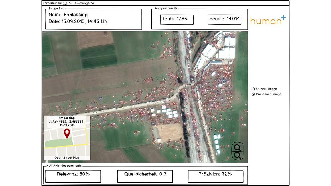 Die Software soll unter anderem Zeltstädte auf Satellitenbildern erkennen können.