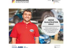 Titelbild der Broschüre 'Meine Erfahrung zählt: Erfahrungsberichte zur Anerkennung ausländischer Berufsqualifikationen in Deutschland.'