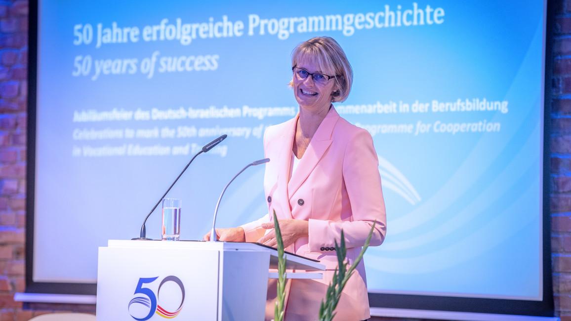Anja Karliczek, Bundesministerin für Bildung und Forschung, während ihrer Rede