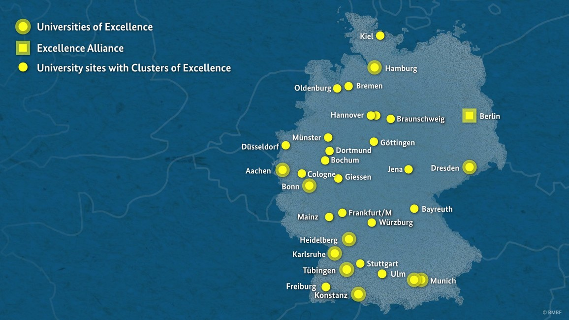The maps shows the sites of Clusters of Excellence and Universities of Excellence.