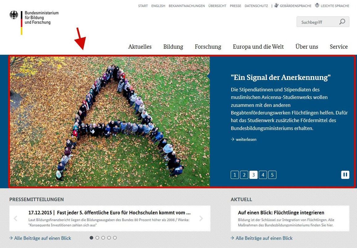Abbildung Startseite www.bmbf.de Bühne mit aktuellen Meldungen.