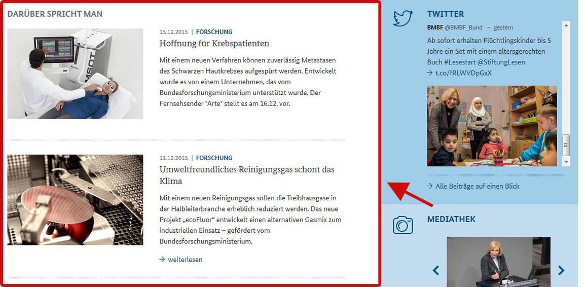 Abbildung Startseite www.bmbf.de Rubrik Darüber spricht man