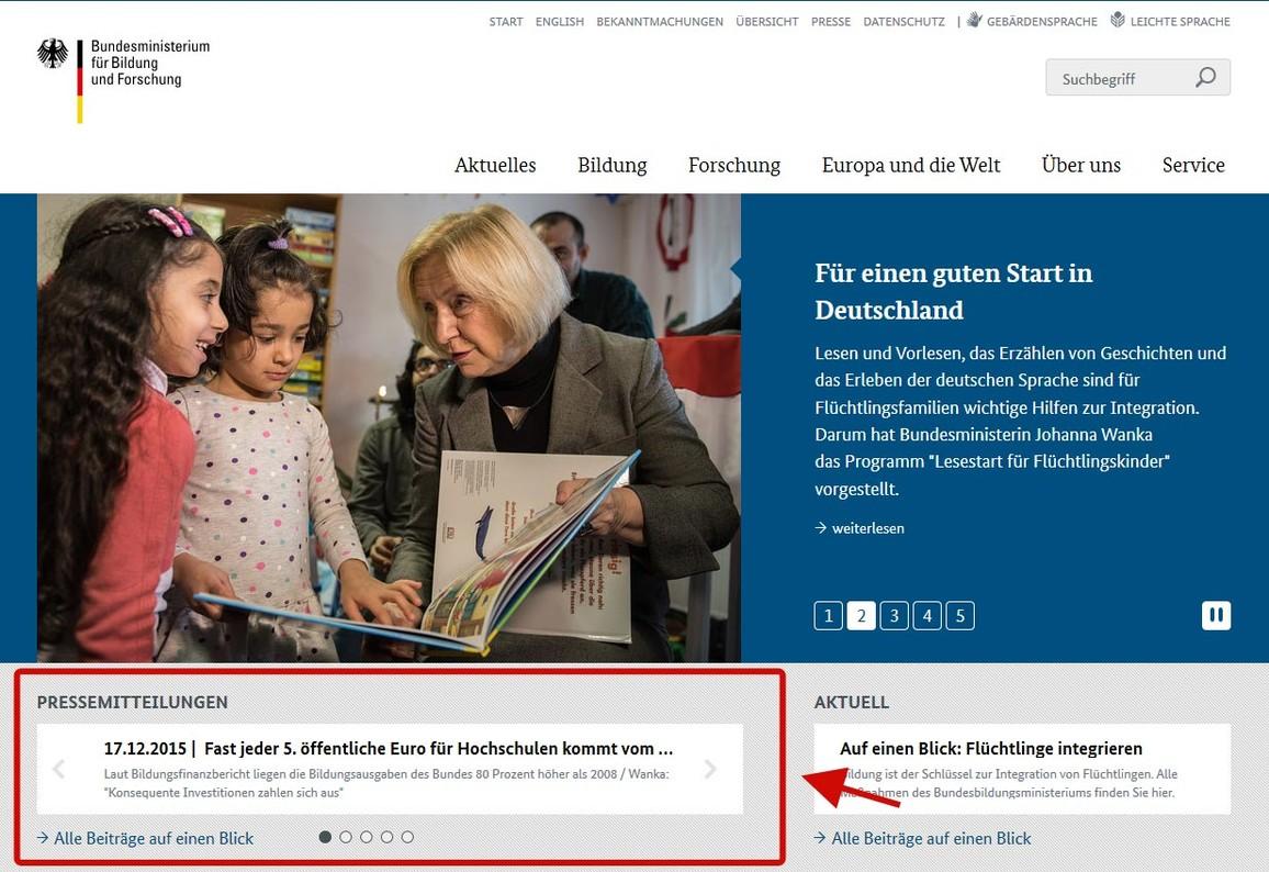 Abbildung Startseite www.bmbf.de Rubrik Pressemitteilungen