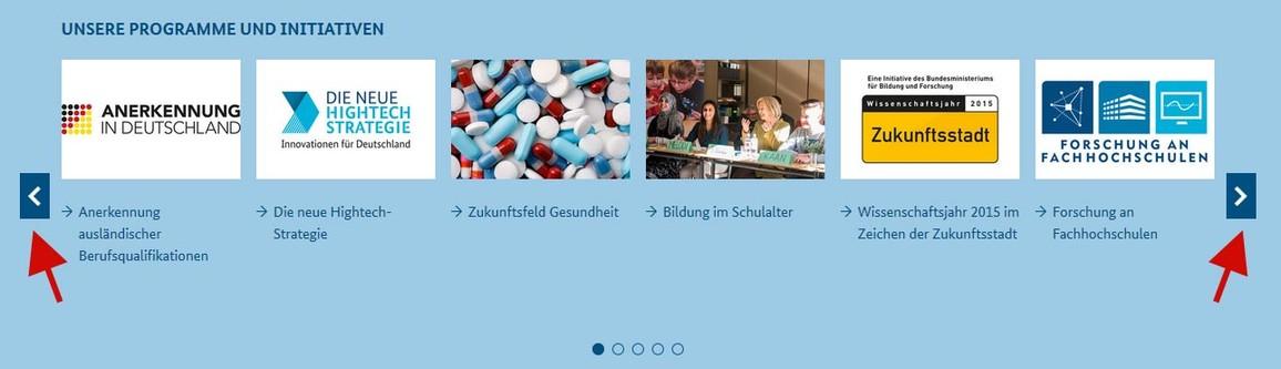 Abbildung Startseite www.bmbf.de Rubrik Programme und Initiativen