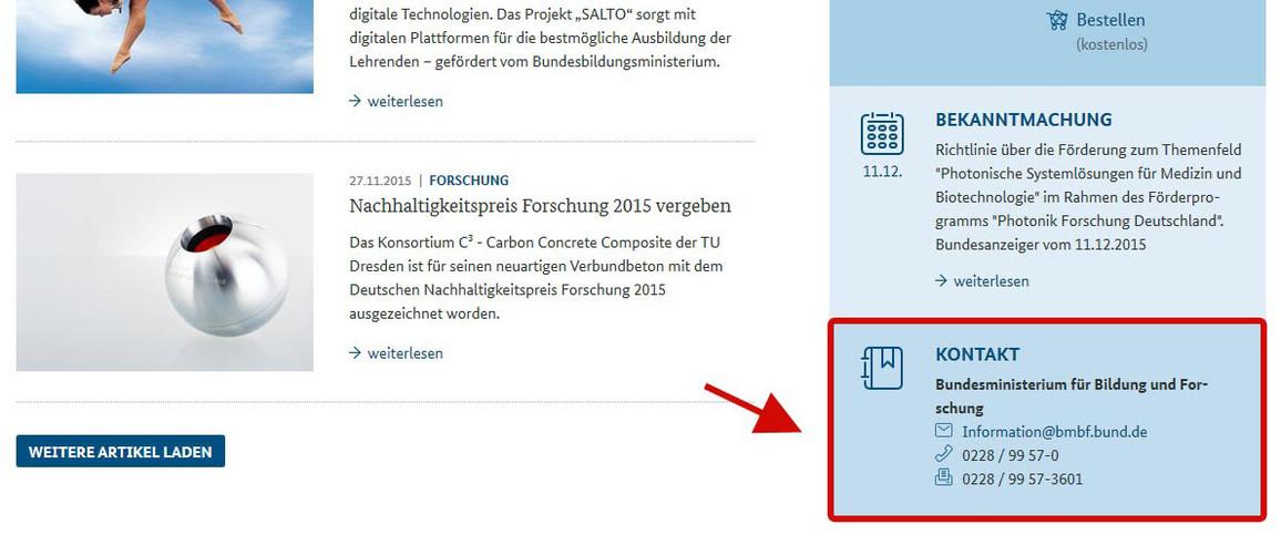 Abbildung Startseite www.bmbf.de Rubrik Kontakt