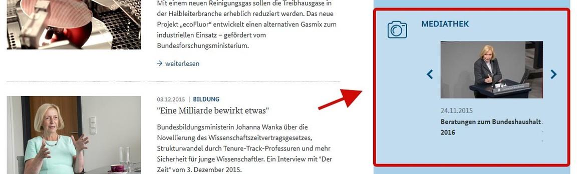 Abbildung Startseite www.bmbf.de Rubrik Mediathek
