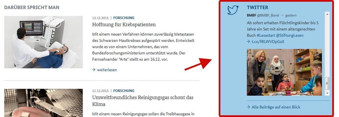 Abbildung Startseite www.bmbf.de Rubrik Twitter