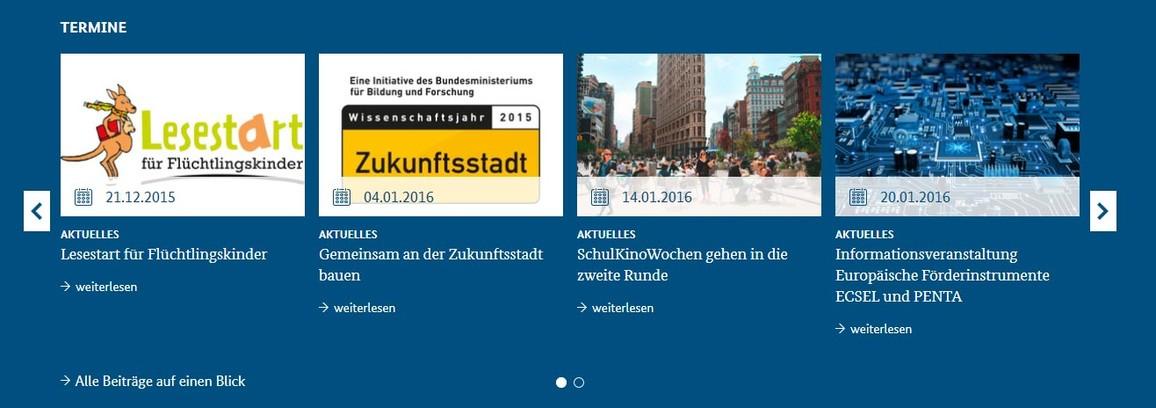 Abbildung Startseite www.bmbf.de Rubrik Termine