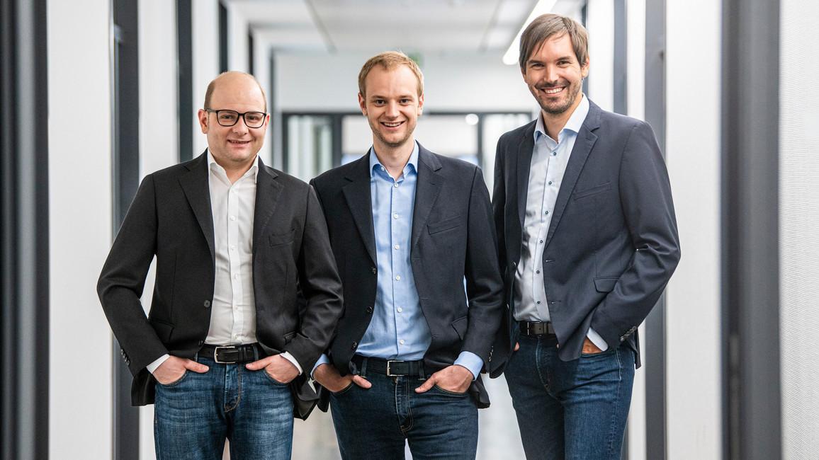 Bastian Nominacher, Alexander Rinke und Martin Klenk (v.l.) setzten sich beim Deutschen Zukunftspreis durch.