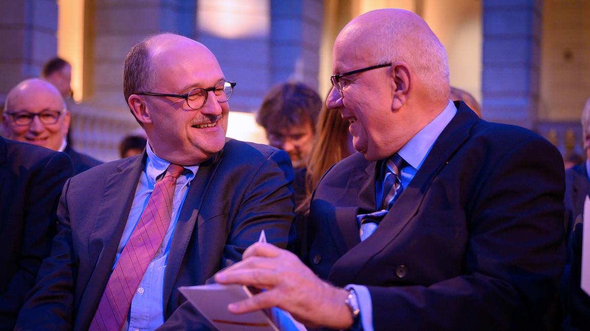 Michael Meister, Parl. Staatssekretär bei der Bundesministerin für Bildung und Forschung, im Gespräch mit Peter Strohschenider, Präsident der Deutschen Forschungsgemeinschaft.