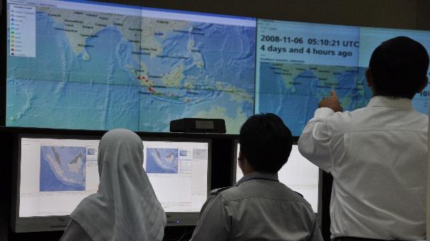 Leitstelle des Tsunami-Frühwarnsystems in Jakarta.