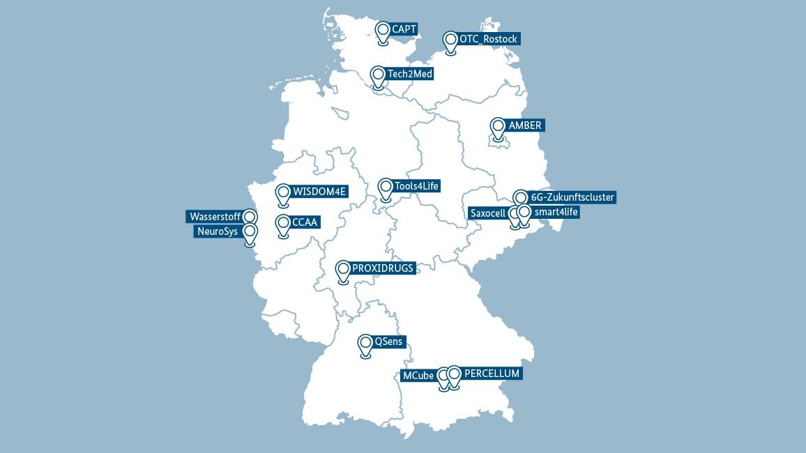 Das sind die 16 Standorte der 'Zukunftscluster-Anwärter'.