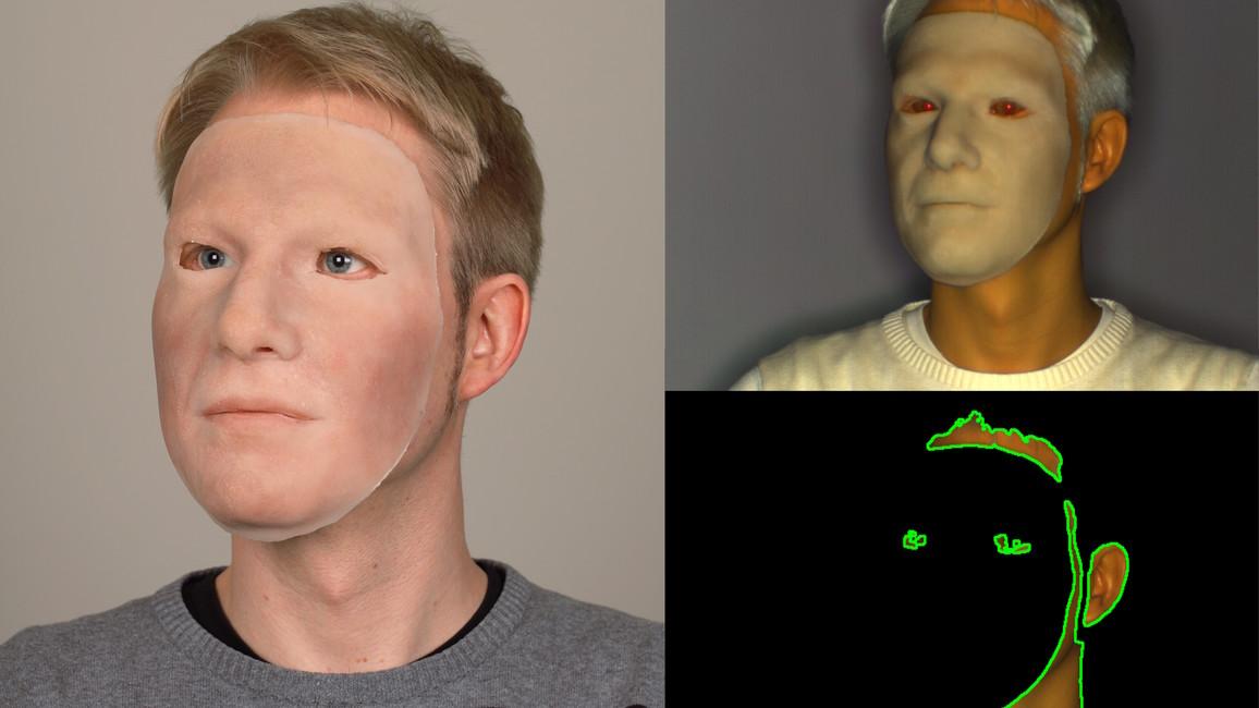 Fälschungsangriff mit Silikonmaske: Links: Farbfoto, rechts: Nahinfrarotbild vor (oben) und nach (unten) Hauterkennung.