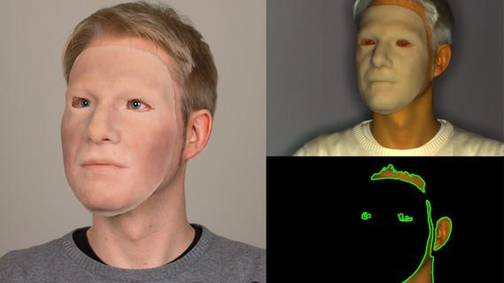 Das Foto setzt sich aus drei Bilder zusammen: Bei dem linken, großen Bild handelt es sich um ein Farbfoto, das einen Mann bei einem Täuschungsangriff mit einer Silikonmaske zeigt. Rechts daneben befinden sind oben und unten zwei weitere Bilder, die jeweils ein Infrarotbild des Mannes mit der Silikonmaske zeigen, einmal vor (oberes Bild) und nach (unteres Bild) Hauterkennung. Auf den Infrarotbilder ist der Unterschied zwischen menschlicher Haut und Silikonmaske deutlich zu erkennen.