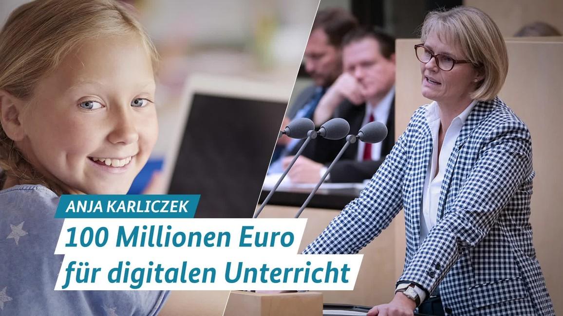 Poster zum Video Statement von Ministerin Anja Karliczek: 100 Millionen Euro für die Schulen